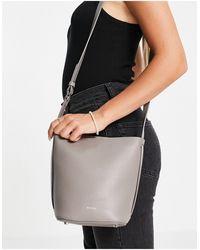 Reiss Hudson Mini Textured Leather Bucket Bag - Grey