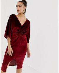Missguided - Velvet Plunge Twist Front Midi Dress In Dark Red - Lyst 8e96a637a