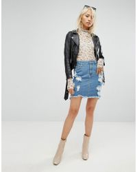 ARRIVE - Denim Mini Skirt With Abrasions - Lyst