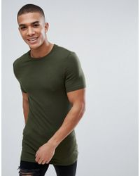 ASOS - Longline Muscle Fit T-shirt With Crew Neck In Green - Lyst