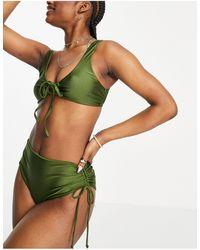 TOPSHOP Shiny Tie Front Bikini Top - Green
