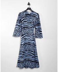 Liquorish Голубое Платье Миди С Запахом И Звериным Принтом -голубой - Синий