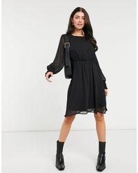 Vero Moda Черное Платье С Длинными Рукавами -черный Цвет