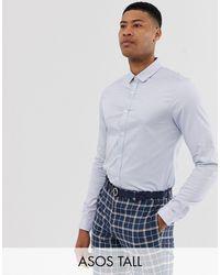 ASOS Tall Wedding Slim Sateen Shirt - Blue