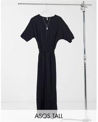 ASOS ASOS DESIGN Tall - Tuta jumpsuit nera allacciata - Nero