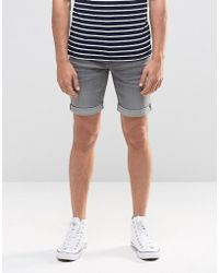 Blend Twister Slim Denim Shorts Grey