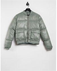 Threadbare Lacy High Shine Bomber Jacket - Green