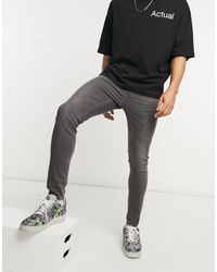 New Look - Jeans super skinny grigio slavato - Lyst