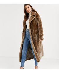 ASOS ASOS DESIGN Tall - Manteau long en fausse fourrure duveteuse à coutures apparentes - Gris