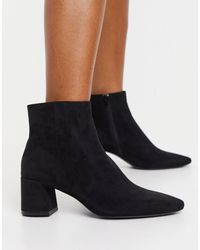 Mango Faux Suede Mid Heeled Boots - Black