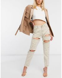 Missguided Sand Extreme Ripped Mom Rigid Jeans - Natural