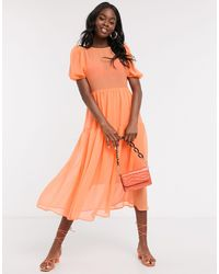 Never Fully Dressed Puff Sleeve Sheer Tiered Trapeze Maxi Dress - Orange