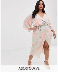ASOS Платье-кимоно Миди С Искусственным Жемчугом И Пайетками - Многоцветный