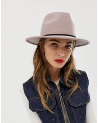 ASOS Felt Fedora Hat With Plait Braid Trim And Size Adjuster - Natural