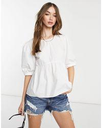 Warehouse Top en popeline - Blanc