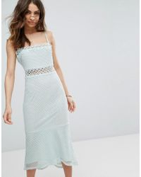 Vero Moda - Lace Cutwork Detail Fishtail Midi Dress - Lyst