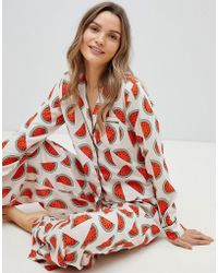 ASOS - Watermelon Traditional 100% Modal Long Leg Pyjama Set - Lyst