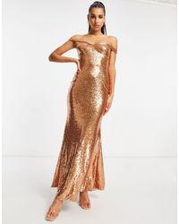 Club L London Платье Макси Цвета Розового Золота С Открытыми Плечами, Пайетками И Юбкой-годе Club L-золотистый - Металлик