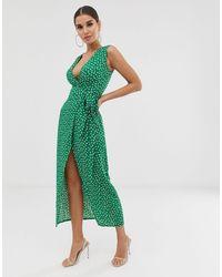 Club L London Club L Tie Waist Plunge Dress - Green