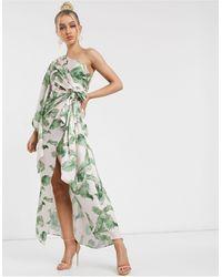 Significant Other Vestido largo y asimétrico con hojas tropicales caspian - Verde