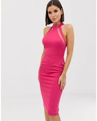Girl In Mind Vestido midi ajustado con panel - Rosa