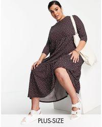 Simply Be - Ярусное Платье Миди В Горошек -многоцветный - Lyst