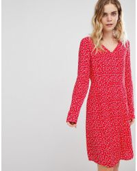 Ichi Ditsy Floral Dress - Red