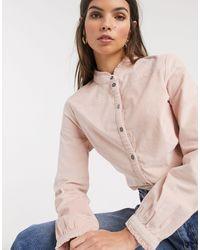 Esprit Cord High Neck Blouse - Pink