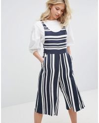 Mango Stripe Culotte Jumpsuit - Blue
