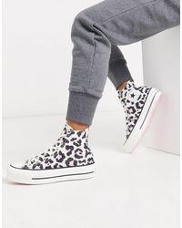 Converse Chuck Taylor - Baskets montantes à semelle plateforme - Imprimé léopard rose - Blanc