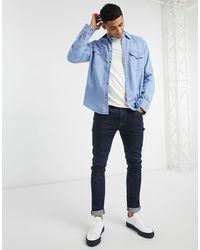 Abercrombie & Fitch Camicia di jeans lavaggio blu medio