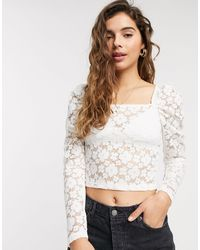 Pieces Lace Top With Square Neck - White