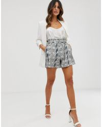 UNIQUE21 Snake Print Paperbag Waist Shorts - Gray