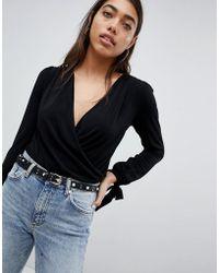 ASOS - Design Long Sleeve Tie Cuff Wrap Daywear Body - Lyst