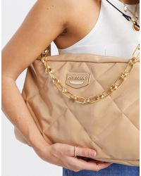 River Island Gloss Quilted Shoulder Bag With Chain Strap - Natural