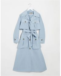 ASOS Layered Utility Taffeta Trench Coat - Blue