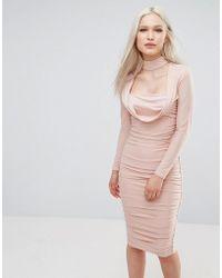 AX Paris Long Sleeve Slinky Dress - Pink