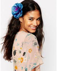 ASOS Tropical Flower Hair & Brooch Clip - Blue