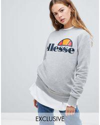 Ellesse Boyfriend Sweatshirt With Chest Logo - Gray