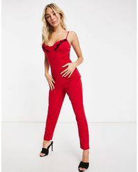 I Saw It First Lace Detail Skinny Leg Jumpsuit - Red