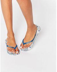 7dcb20a58b3f80 Gandys - Hera Blue Strap Flip Flops - Lyst