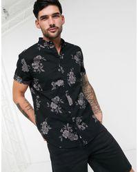 Hollister Черная Узкая Рубашка С Цветочным Принтом -черный Цвет