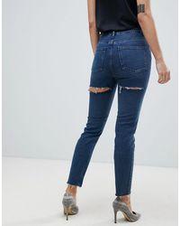 ASOS Recycled Farleigh - Mom jeans slim vita alta lavaggio blu London con strappi sui glutei