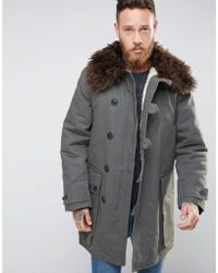 Nudie Jeans Nudie Connor Parka With Faux Fur Collar - Green
