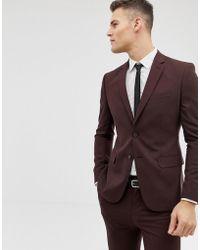 New Look Skinny Fit Suit Jacket In Burgundy - Red