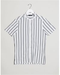 Brave Soul Grandad Collar Short Sleeve Shirt - Blue