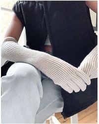 Weekday Желтовато-белые Длинные Меланжевые Перчатки С Добавлением Шерсти -белый