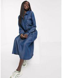 Oasis Denim Midi Shirt Dress - Blue