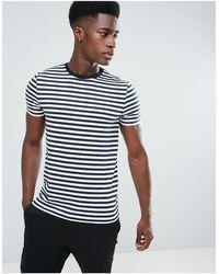 ASOS ASOS – DESIGN –T-Shirt mit marineblauen und weißen Streifen