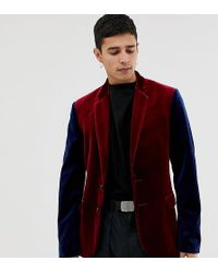 Collusion Velvet Blazer In Burgundy With Contrast Sleeves - Red